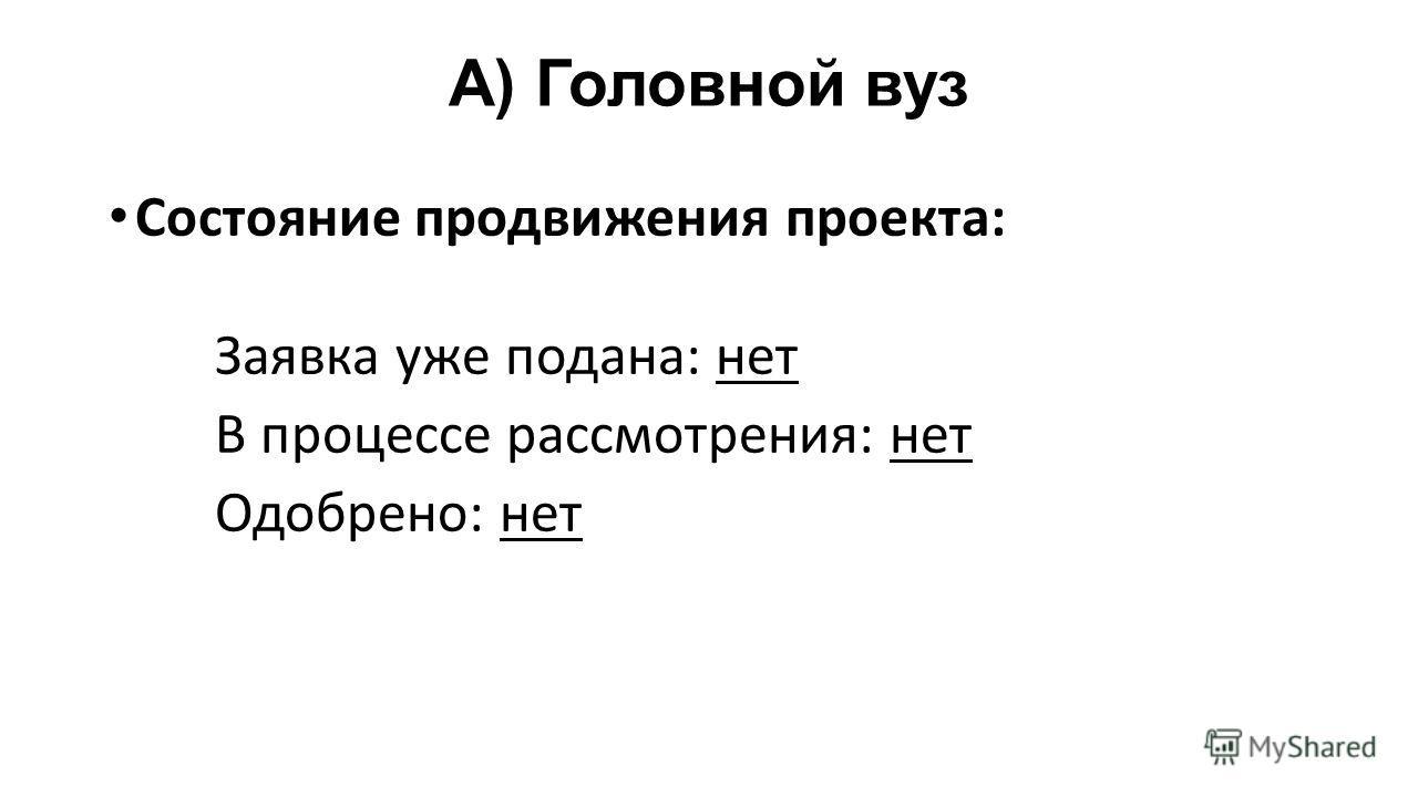 A) Головной вуз Состояние продвижения проекта: Заявка уже подана: нет В процессе рассмотрения: нет Одобрено: нет