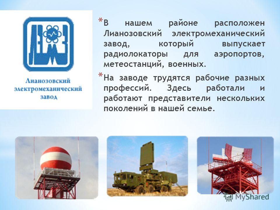 * В нашем районе расположен Лианозовский электромеханический завод, который выпускает радиолокаторы для аэропортов, метеостанций, военных. * На заводе трудятся рабочие разных профессий. Здесь работали и работают представители нескольких поколений в н