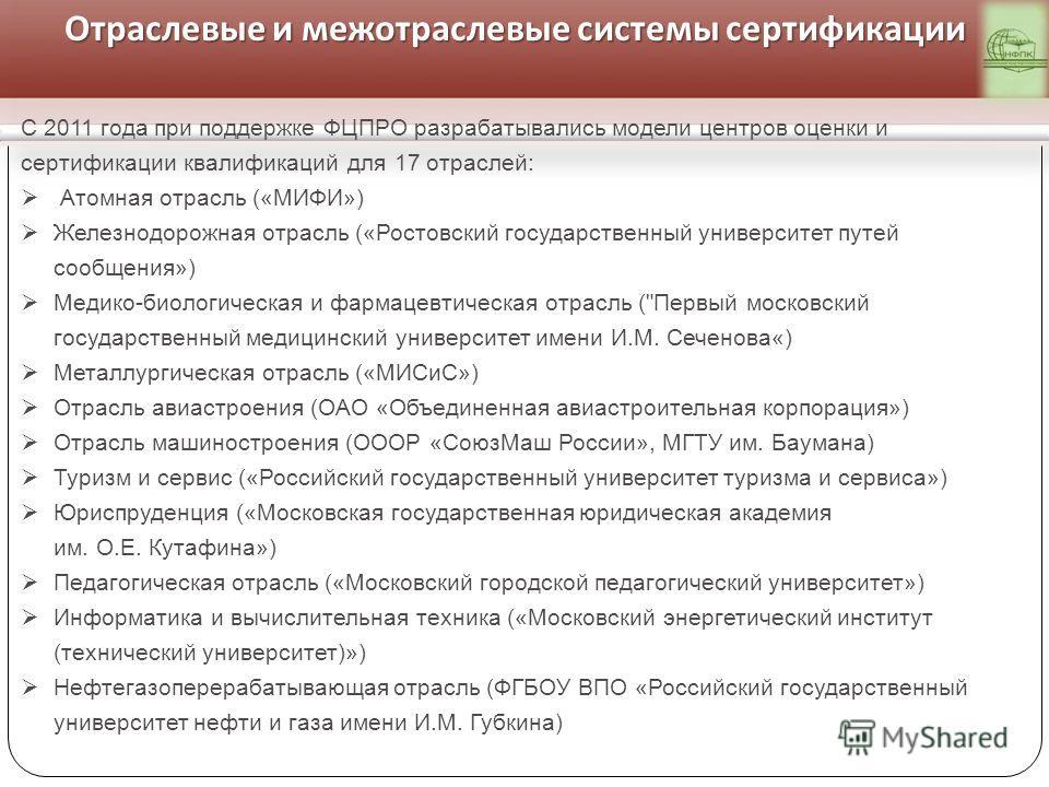 Отраслевые и межотраслевые системы сертификации С 2011 года при поддержке ФЦПРО разрабатывались модели центров оценки и сертификации квалификаций для 17 отраслей: Атомная отрасль («МИФИ») Железнодорожная отрасль («Ростовский государственный университ