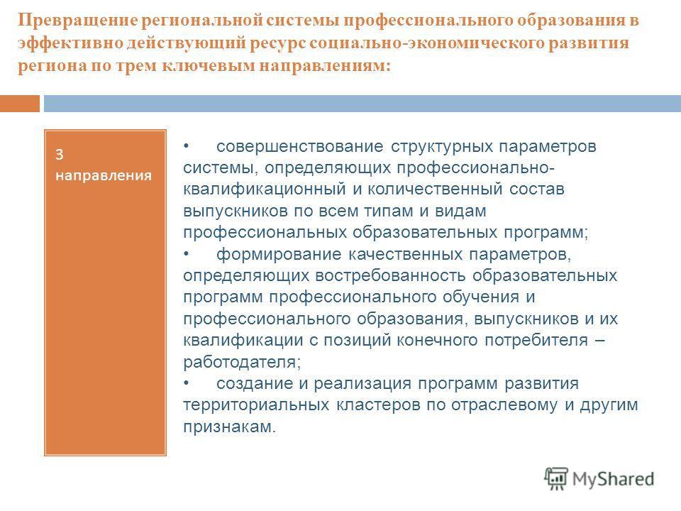 Превращение региональной системы профессионального образования в эффективно действующий ресурс социально-экономического развития региона по трем ключевым направлениям: 3 направления совершенствование структурных параметров системы, определяющих профе