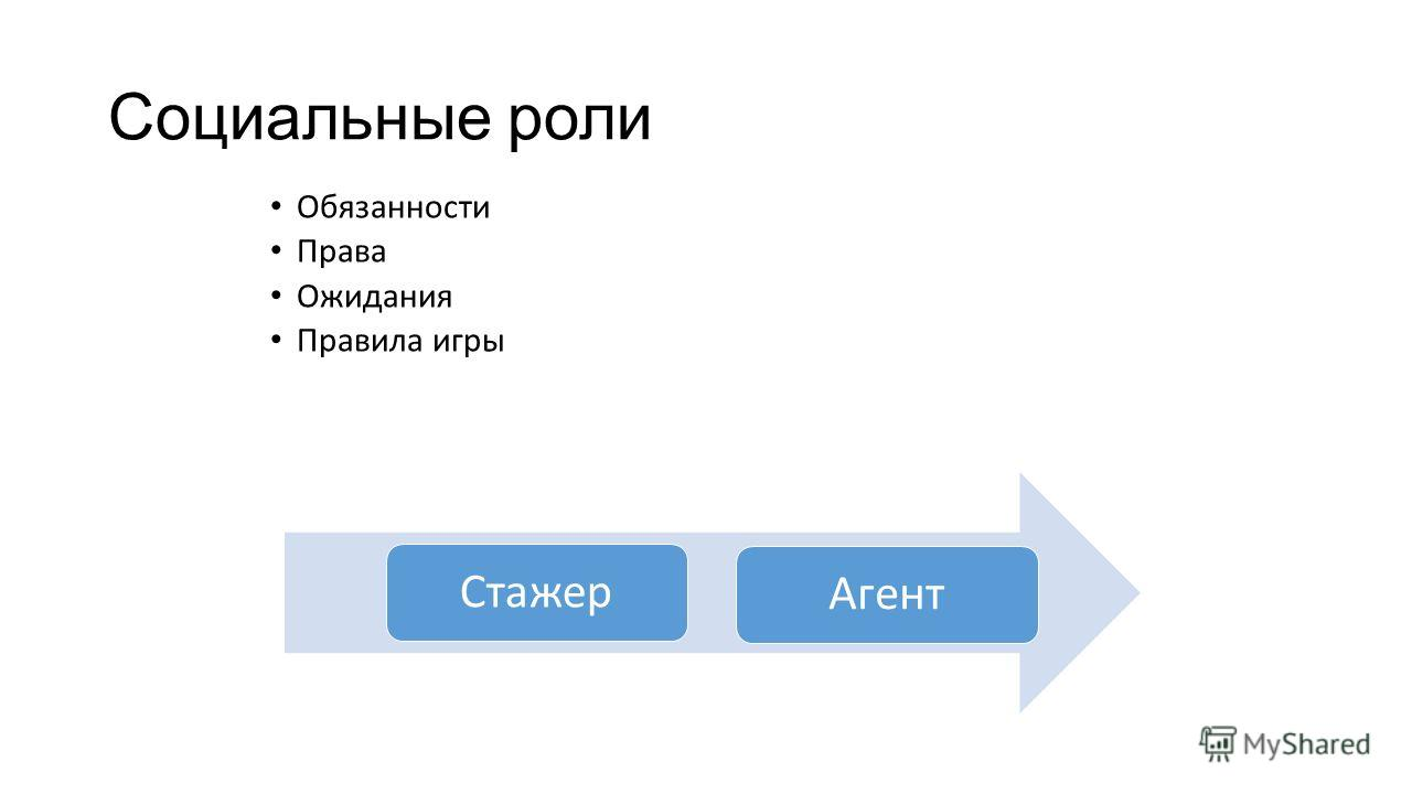 Социальные роли Обязанности Права Ожидания Правила игры Стажер Агент