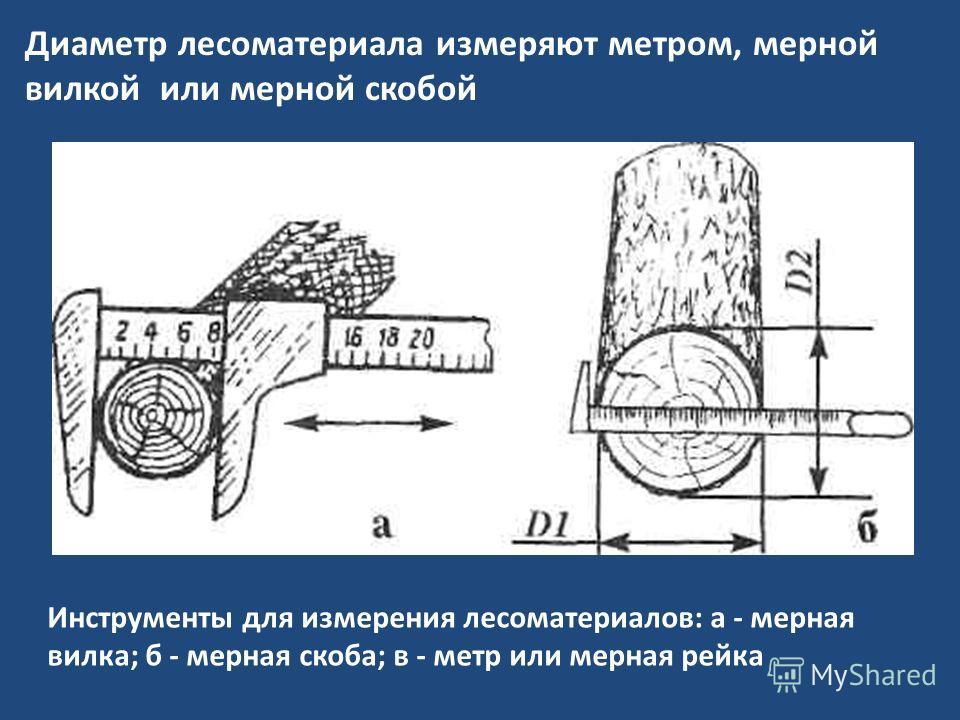 Инструменты для измерения лесоматериалов: а - мерная вилка; б - мерная скоба; в - метр или мерная рейка Диаметр лесоматериала измеряют метром, мерной вилкой или мерной скобой