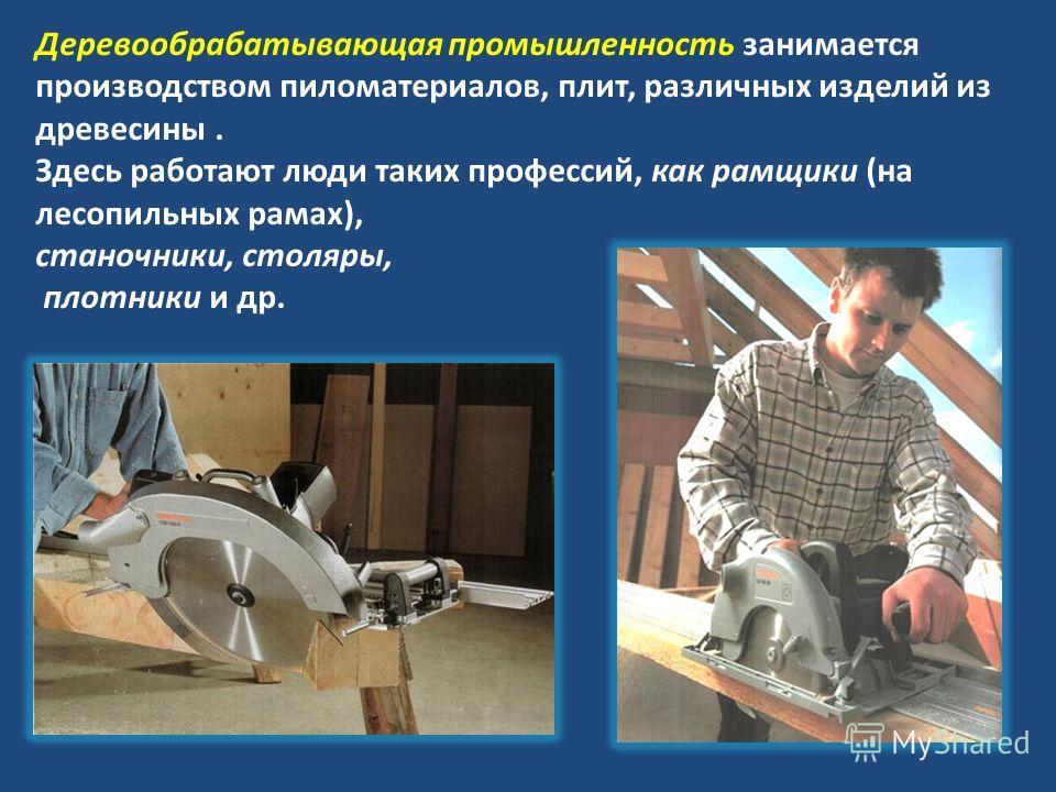 Деревообрабатывающая промышленность занимается производством пиломатериалов, плит, различных изделий из древесины. Здесь работают люди таких профессий, как рамщики (на лесопильных рамах), станочники, столяры, плотники и др.