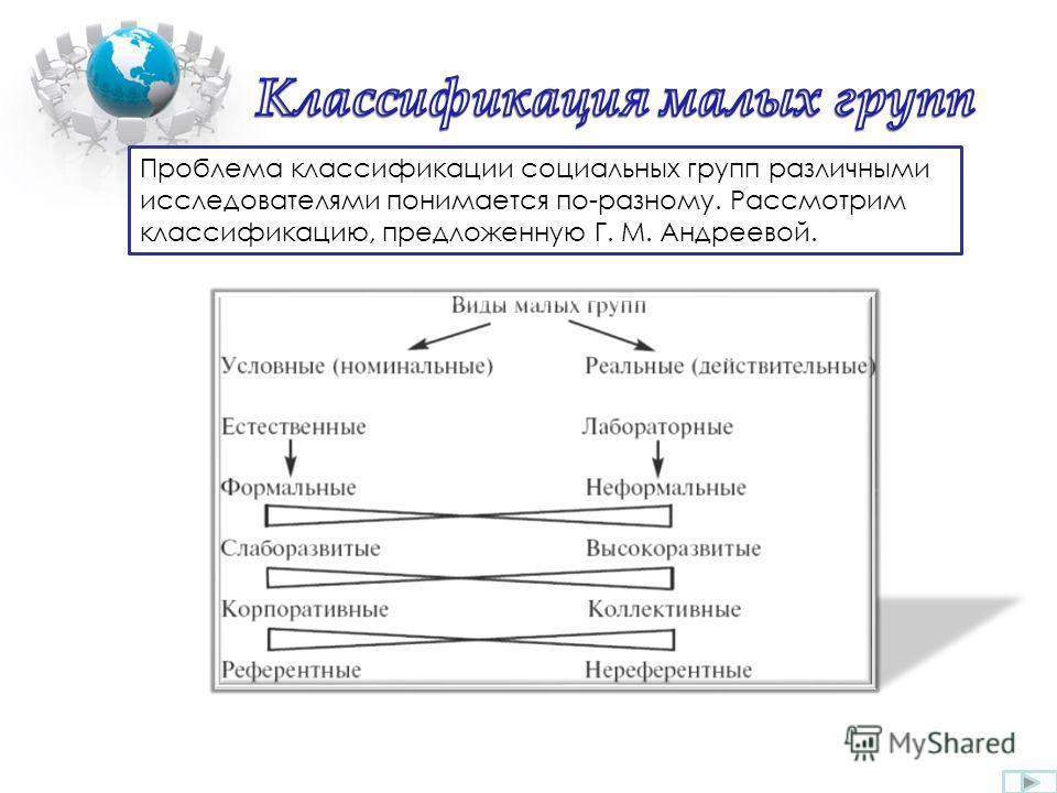 Проблема классификации социальных групп различными исследователями понимается по-разному. Рассмотрим классификацию, предложенную Г. М. Андреевой.
