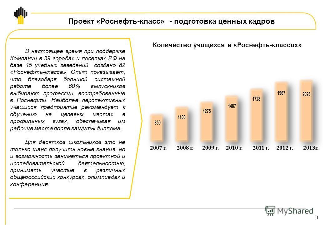 4 В настоящее время при поддержке Компании в 39 городах и поселках РФ на базе 45 учебных заведений создано 82 «Роснефть-класса». Опыт показывает, что благодаря большой системной работе более 60% выпускников выбирают профессии, востребованные в Роснеф