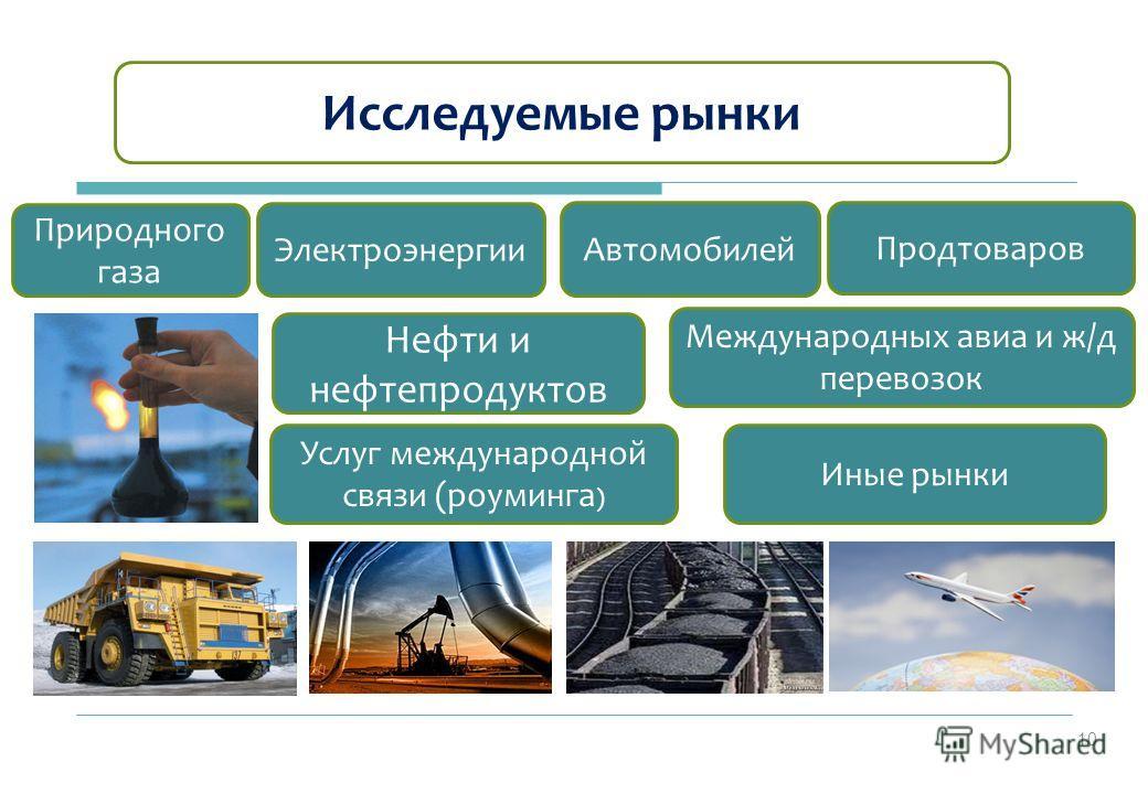 Иные рынки Электроэнергии Автомобилей Международных авиа и ж/д перевозок Услуг международной связи (роуминга ) Продтоваров Исследуемые рынки Нефти и нефтепродуктов Природного газа 10