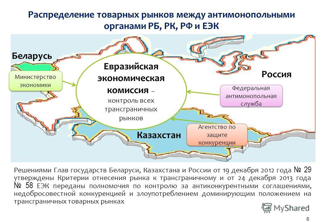 Решениями Глав государств Беларуси, Казахстана и России от 19 декабря 2012 года 29 утверждены Критерии отнесения рынка к трансграничному и от 24 декабря 2013 года 58 ЕЭК переданы полномочия по контролю за антиконкурентными соглашениями, недобросовест