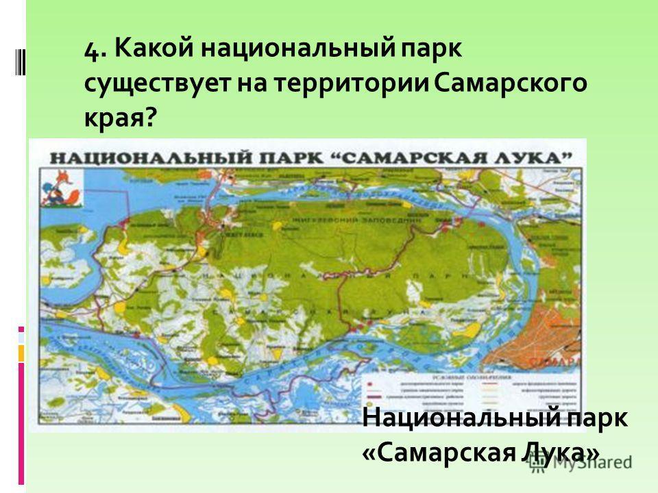 4. Какой национальный парк существует на территории Самарского края? Национальный парк «Самарская Лука»