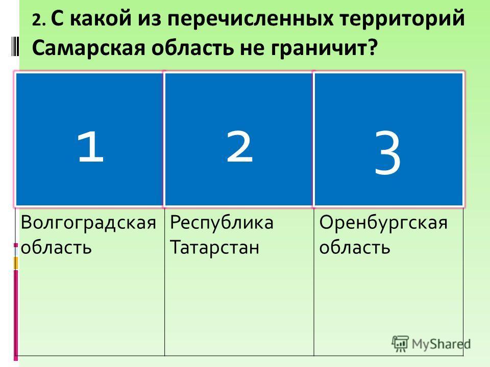 2. С какой из перечисленных территорий Самарская область не граничит? Волгоградская область Республика Татарстан Оренбургская область 123