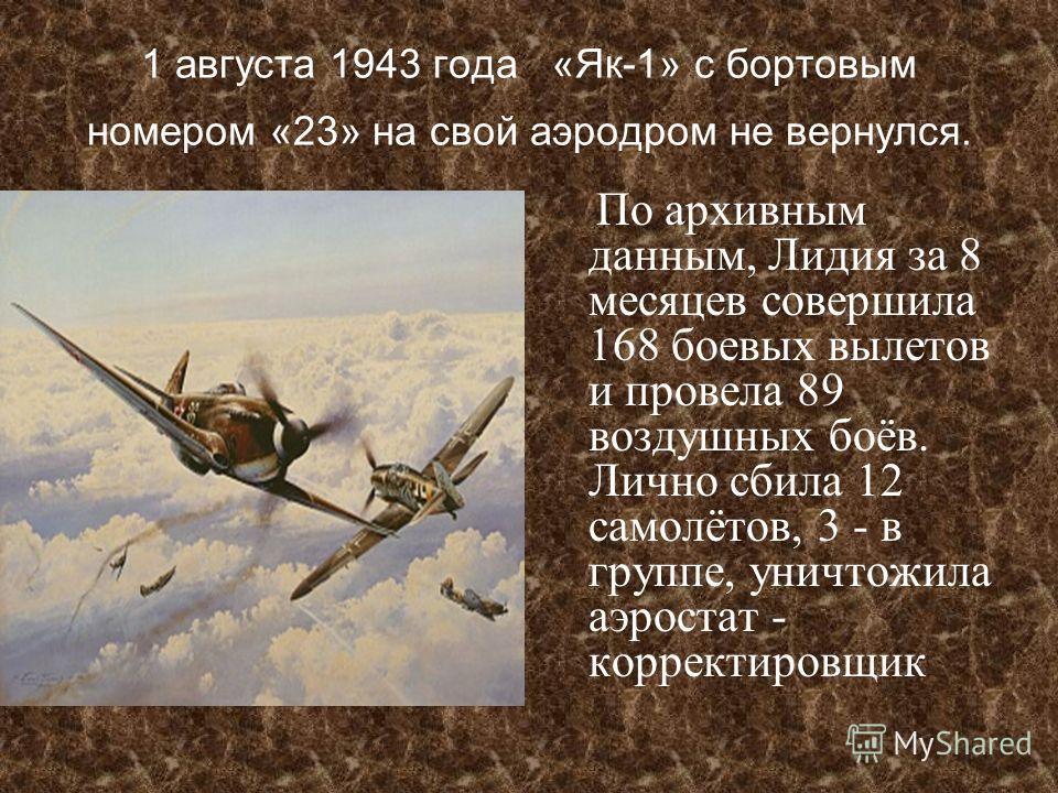 1 августа 1943 года «Як-1» с бортовым номером «23» на свой аэродром не вернулся. По архивным данным, Лидия за 8 месяцев совершила 168 боевых вылетов и провела 89 воздушных боёв. Лично сбила 12 самолётов, 3 - в группе, уничтожила аэростат - корректиро