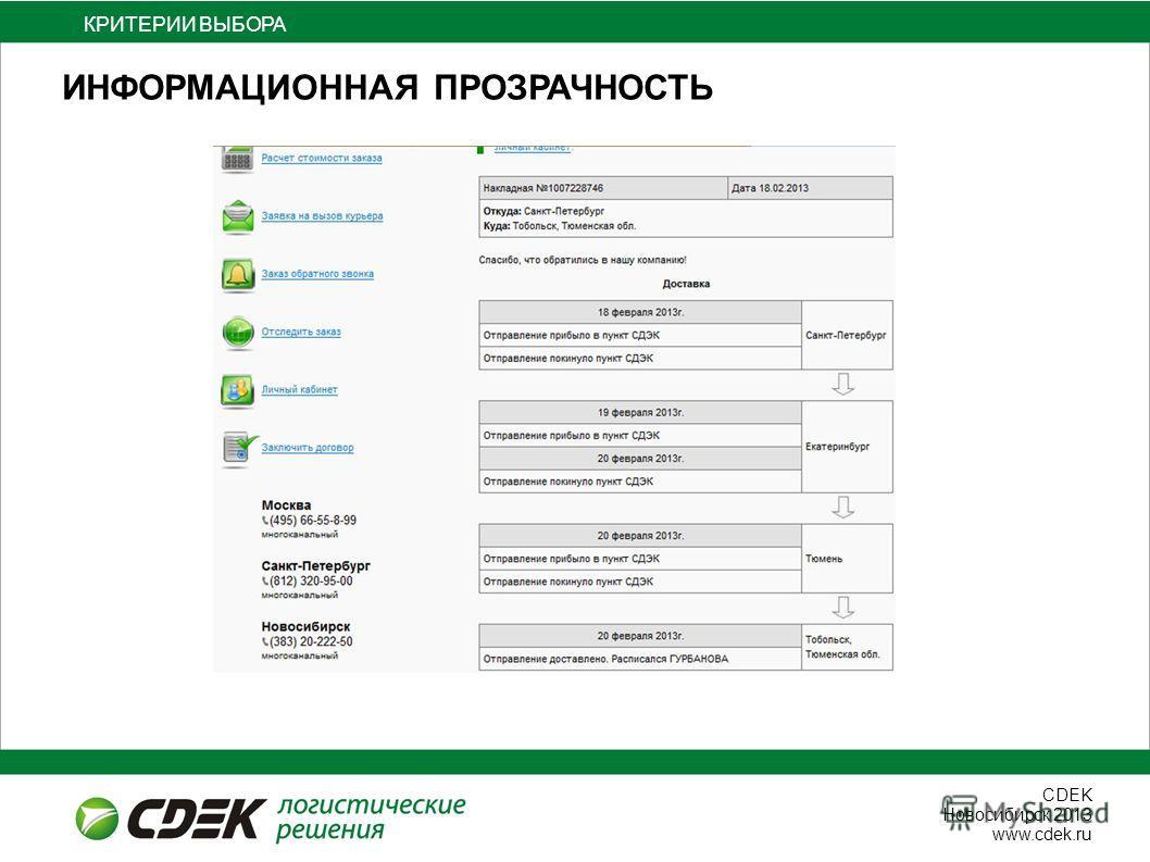 СDEK Новосибирск 2013 www.cdek.ru ИНФОРМАЦИОННАЯ ПРОЗРАЧНОСТЬ КРИТЕРИИ ВЫБОРА