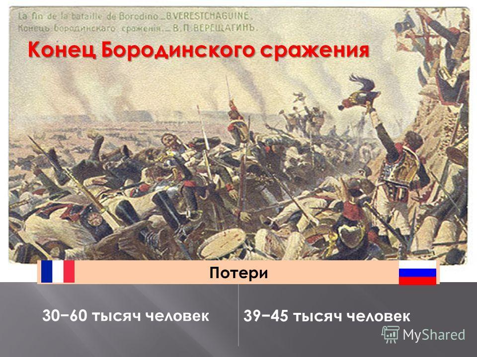 Конец Бородинского сражения Потери 3060 тыс яч чел овек 3945 тыс яч чел овек