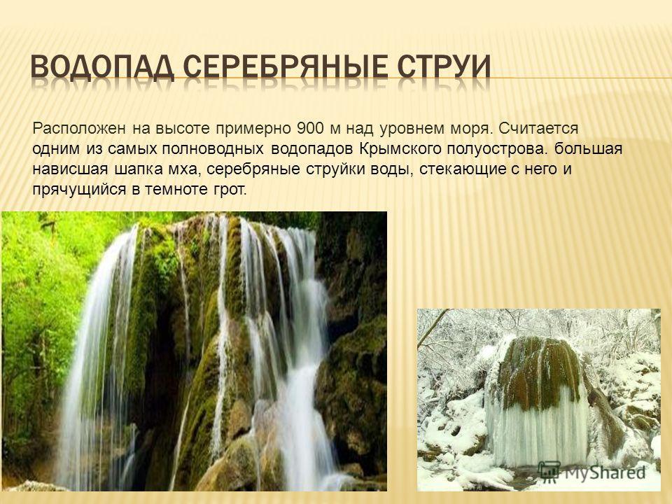 Расположен на высоте примерно 900 м над уровнем моря. Считается одним из самых полноводных водопадов Крымского полуострова. большая нависшая шапка мха, серебряные струйки воды, стекающие с него и прячущийся в темноте грот.