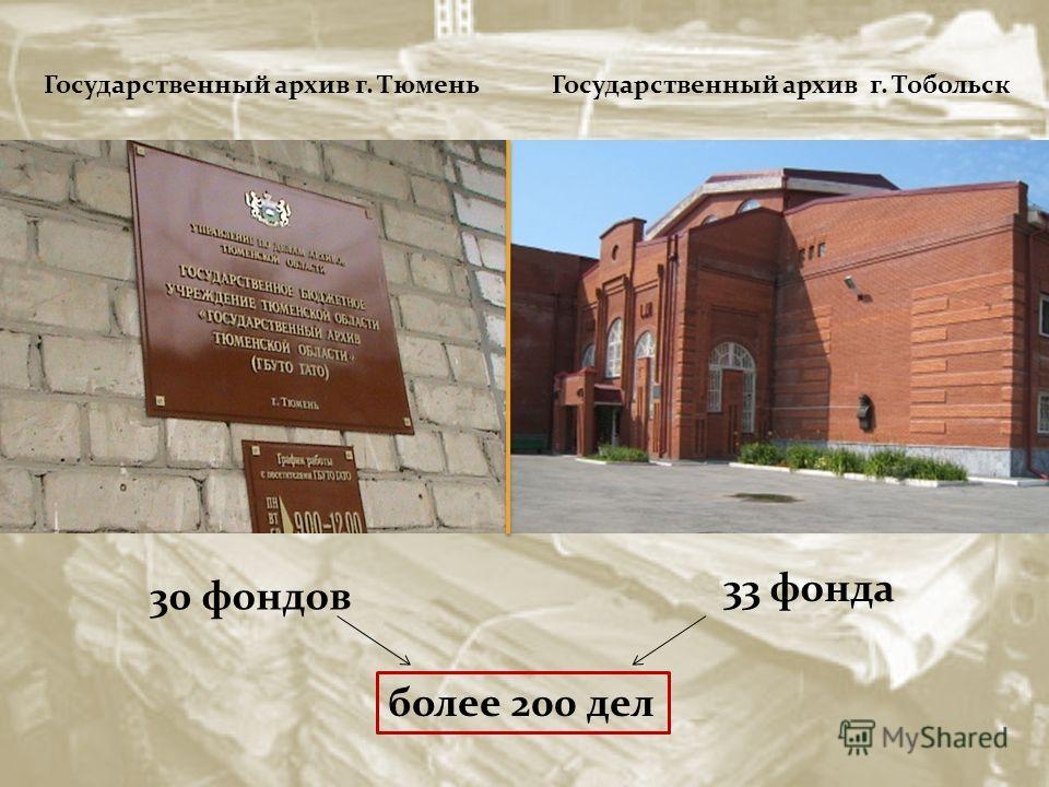 30 фондов 33 фонда более 200 дел Государственный архив г. Тобольск Государственный архив г. Тюмень