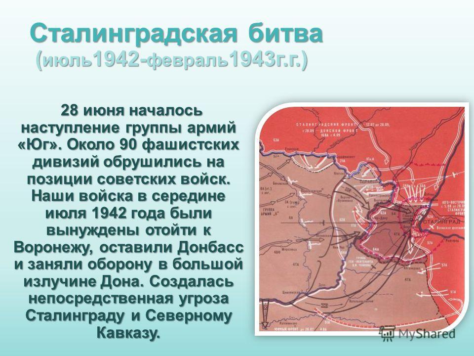 Сталинградская битва ( июль 1942- февраль 1943 г.г.) 28 июня началось наступление группы армий «Юг». Около 90 фашистских дивизий обрушились на позиции советских войск. Наши войска в середине июля 1942 года были вынуждены отойти к Воронежу, оставили Д