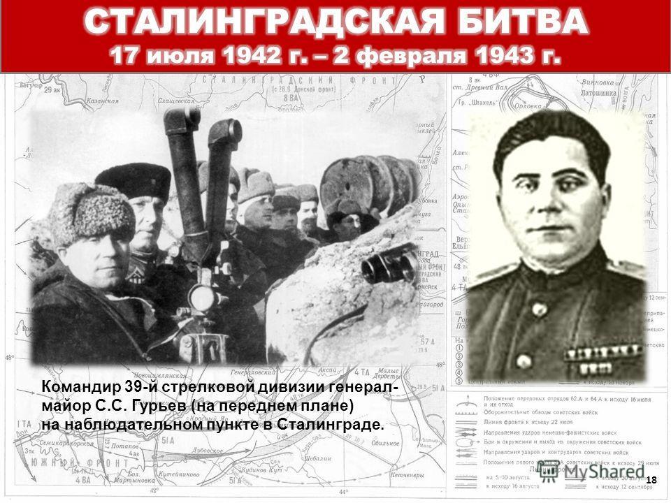 Командир 39-й стрелковой дивизии генерал- майор С.С. Гурьев (на переднем плане) на наблюдательном пункте в Сталинграде. 18