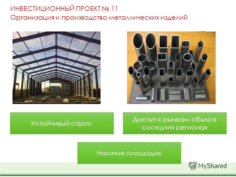 ИНВЕСТИЦИОННЫЙ ПРОЕКТ 11 Организация и производство металлических изделий Устойчивый спрос Доступ к рынкам сбыта в соседних регионах Наличие площадок