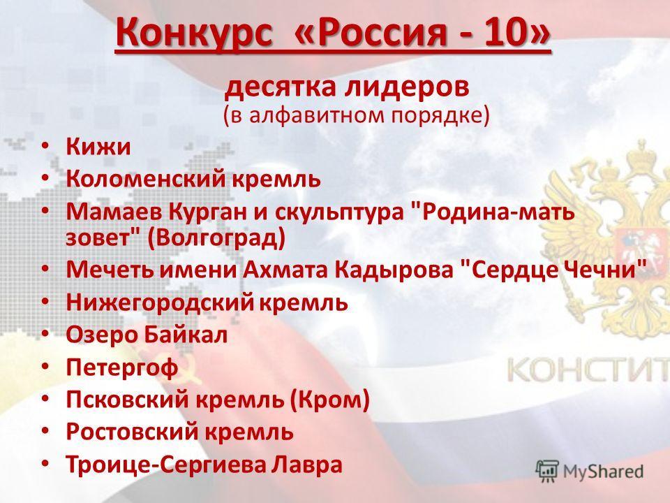 десятка лидеров (в алфавитном порядке) Кижи Коломенский кремль Мамаев Курган и скульптура
