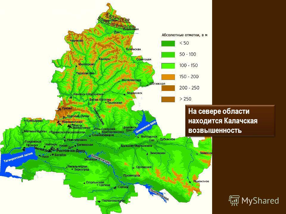 На севере области находится Калачская возвышенность