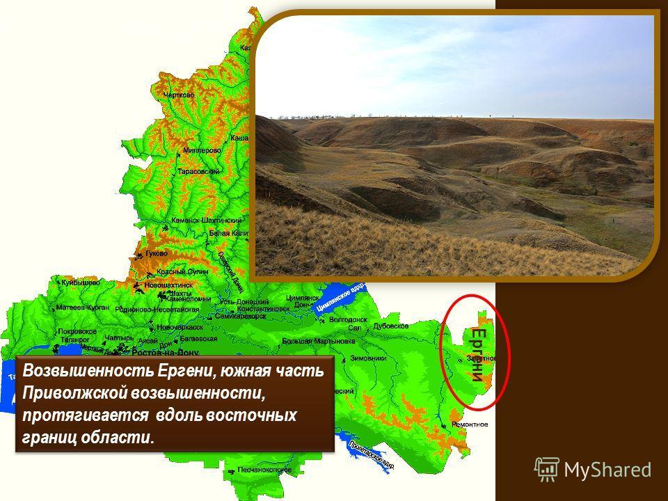 Возвышенность Ергени, южная часть Приволжской возвышенности, протягивается вдоль восточных границ области. Ергени
