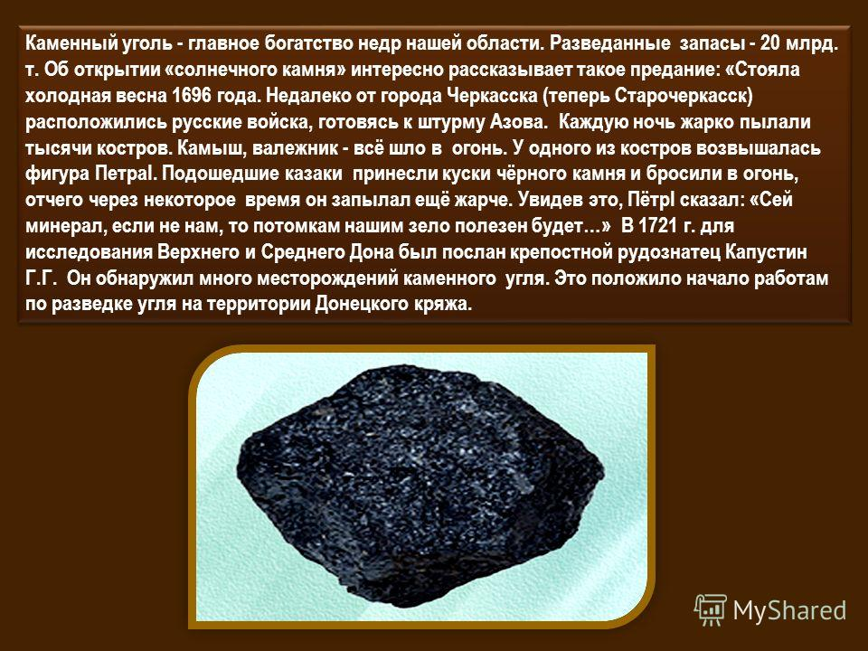 Каменный уголь - главное богатство недр нашей области. Разведанные запасы - 20 млрд. т. Об открытии «солнечного камня» интересно рассказывает такое предание: «Стояла холодная весна 1696 года. Недалеко от города Черкасска (теперь Старочеркасск) распол