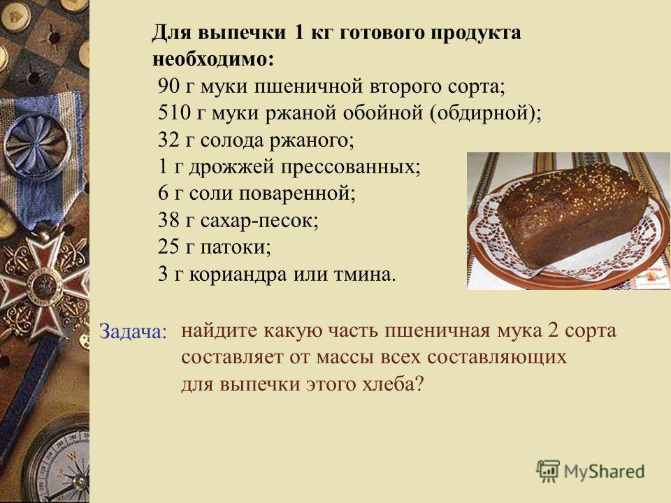 Задача: найдите какую часть пшеничная мука 2 сорта составляет от массы всех составляющих для выпечки этого хлеба? Для выпечки 1 кг готового продукта необходимо: 90 г муки пшеничной второго сорта; 510 г муки ржаной обойной (обдирной); 32 г солода ржан
