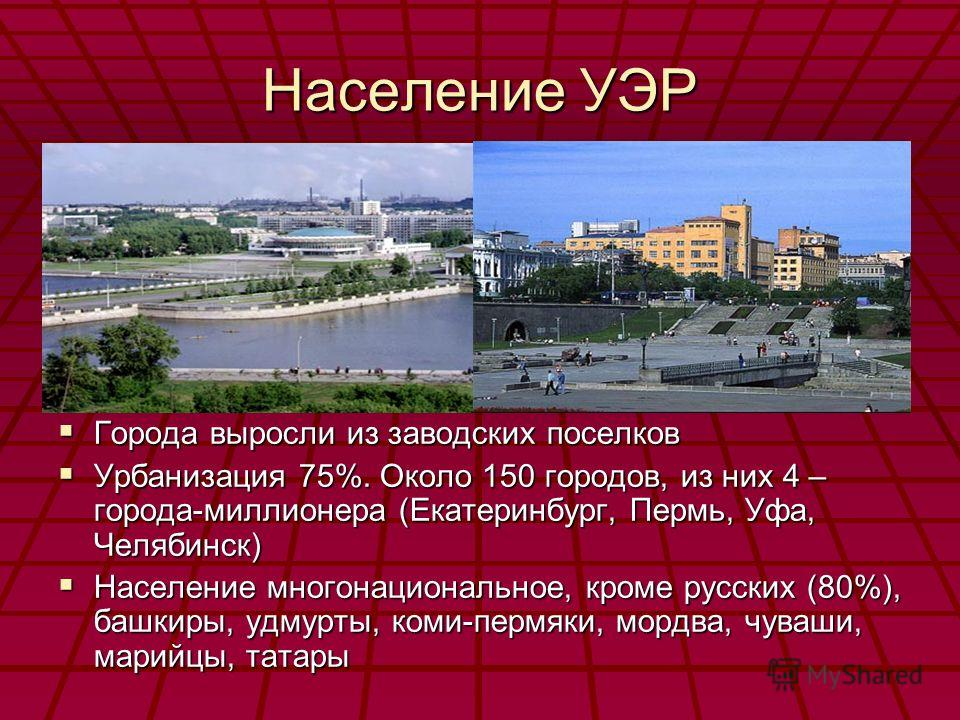 Население УЭР Города выросли из заводских поселков Города выросли из заводских поселков Урбанизация 75%. Около 150 городов, из них 4 – города-миллионера (Екатеринбург, Пермь, Уфа, Челябинск) Урбанизация 75%. Около 150 городов, из них 4 – города-милли