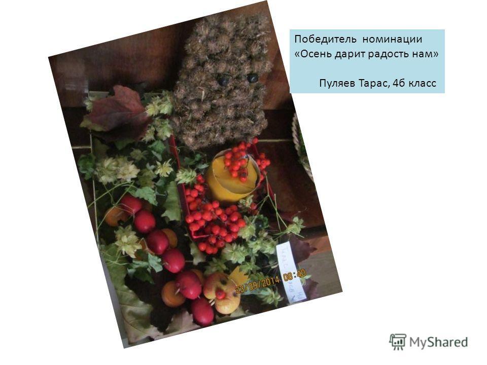 Победитель номинации «Осень дарит радость нам» Пуляев Тарас, 4 б класс