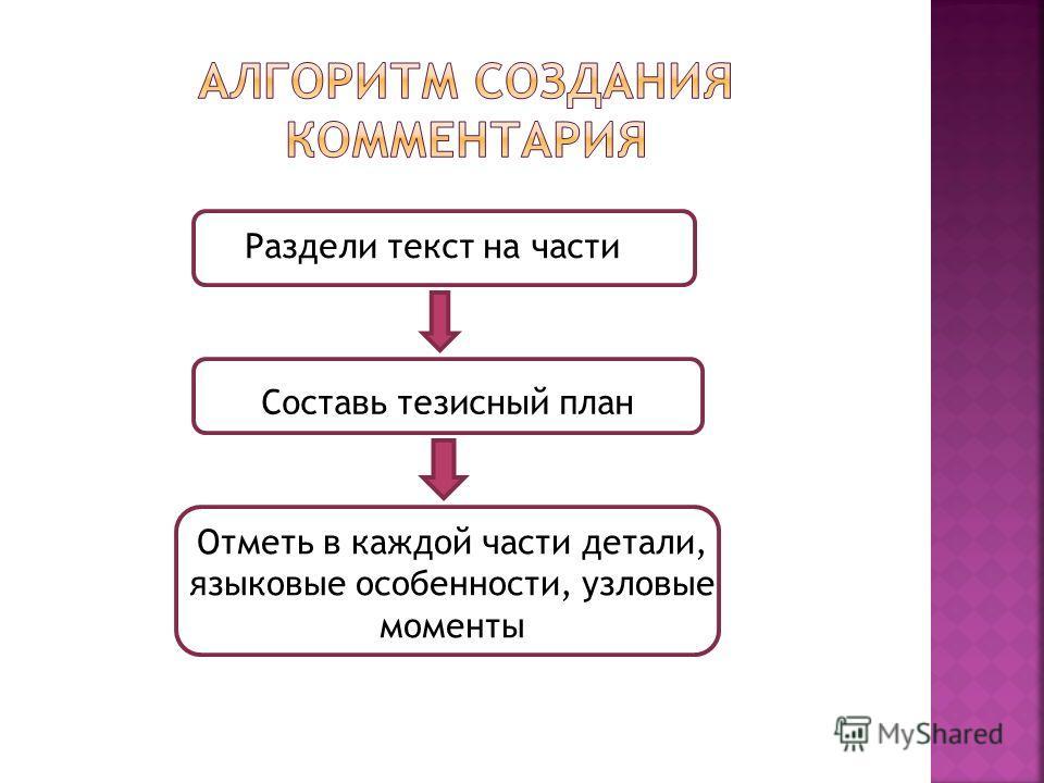 Раздели текст на части Составь тезисный план Отметь в каждой части детали, языковые особенности, узловые моменты