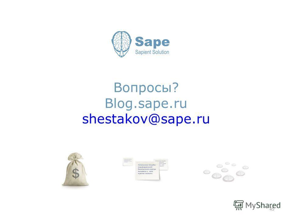 Вопросы? Blog.sape.ru shestakov@sape.ru 45