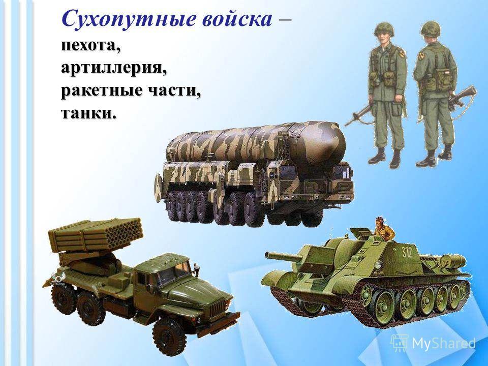 Сухопутные войска –пехота,артиллерия, ракетные части, танки.