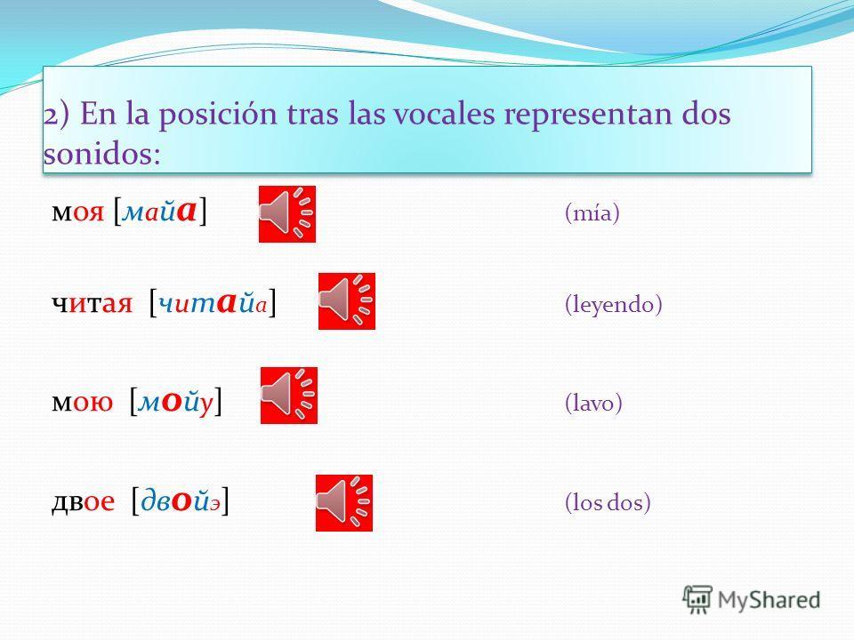 1) En la posición inicial o aislada representan dos sonidos: ем [й э м] (como) ёж [й о ш] (erizo) юг[й у к] (sur) я[й а ] (yo)
