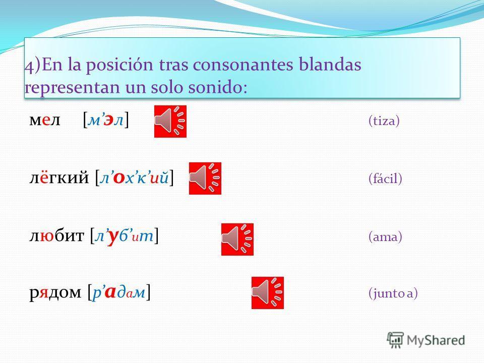 3) En la posición tras los signos ь y ъ representan dos sonidos: семья [си м й а ] (familia) бьёт [б й о т] (golpea) пью [пй у ] (bebo) объяснять [ а б й и сн а т ] (explicar) подъезд [пад й э ст] (portal) объём [ а б й о м] (volumen)