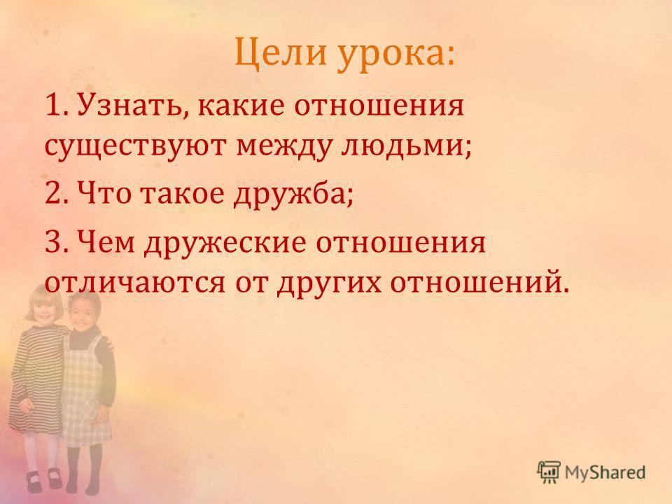 Цели урока: 1. Узнать, какие отношения существуют между людьми; 2. Что такое дружба; 3. Чем дружеские отношения отличаются от других отношений.