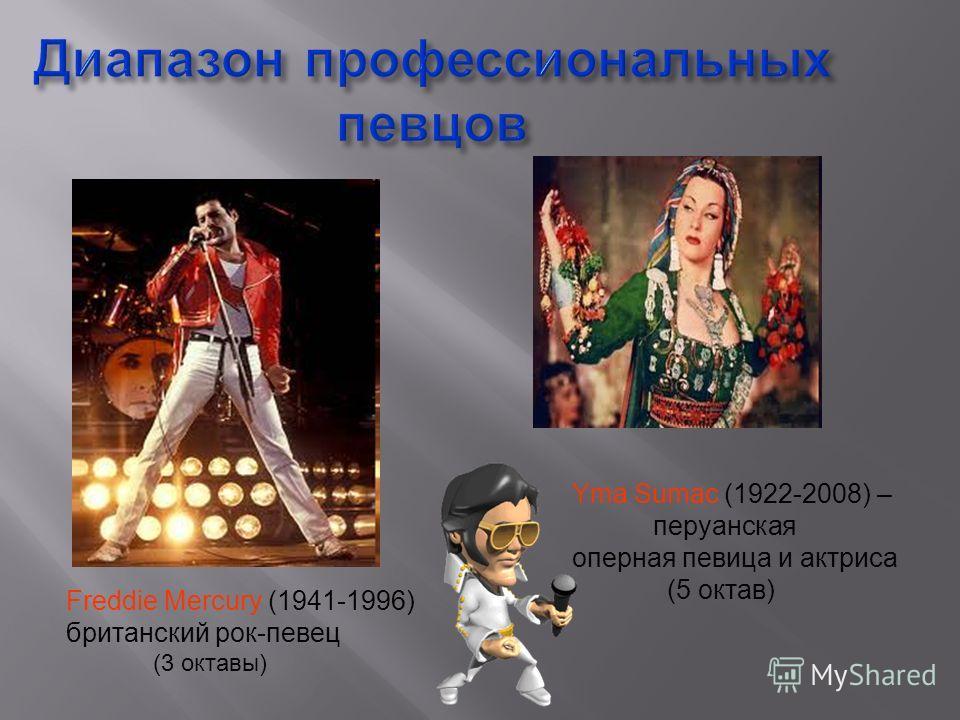 Диапазон профессиональных певцов Freddie Mercury (1941-1996) британский рок-певец (3 октавы) Yma Sumac (1922-2008) – перуанская оперная певица и актриса (5 октав)