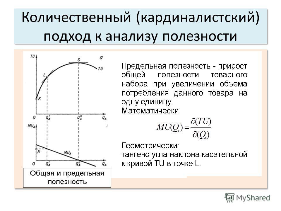 Количественный (кардиналистский) подход к анализу полезности