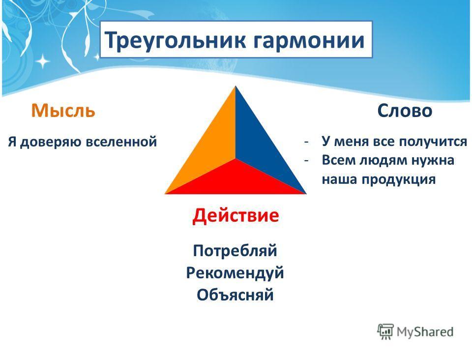 Треугольник гармонии Мысль Слово Действие Я доверяю вселенной -У меня все получится -Всем людям нужна наша продукция Потребляй Рекомендуй Объясняй