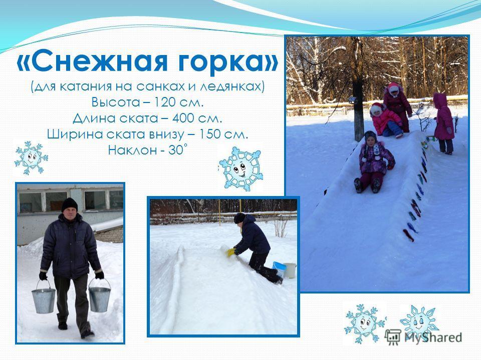 «Снежная горка» (для катания на санках и ледянках) Высота – 120 см. Длина ската – 400 см. Ширина ската внизу – 150 см. Наклон - 30˚