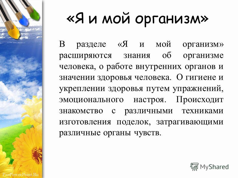 ProPowerPoint.Ru «Я и мой организм» В разделе «Я и мой организм» расширяются знания об организме человека, о работе внутренних органов и значении здоровья человека. О гигиене и укреплении здоровья путем упражнений, эмоционального настроя. Происходит