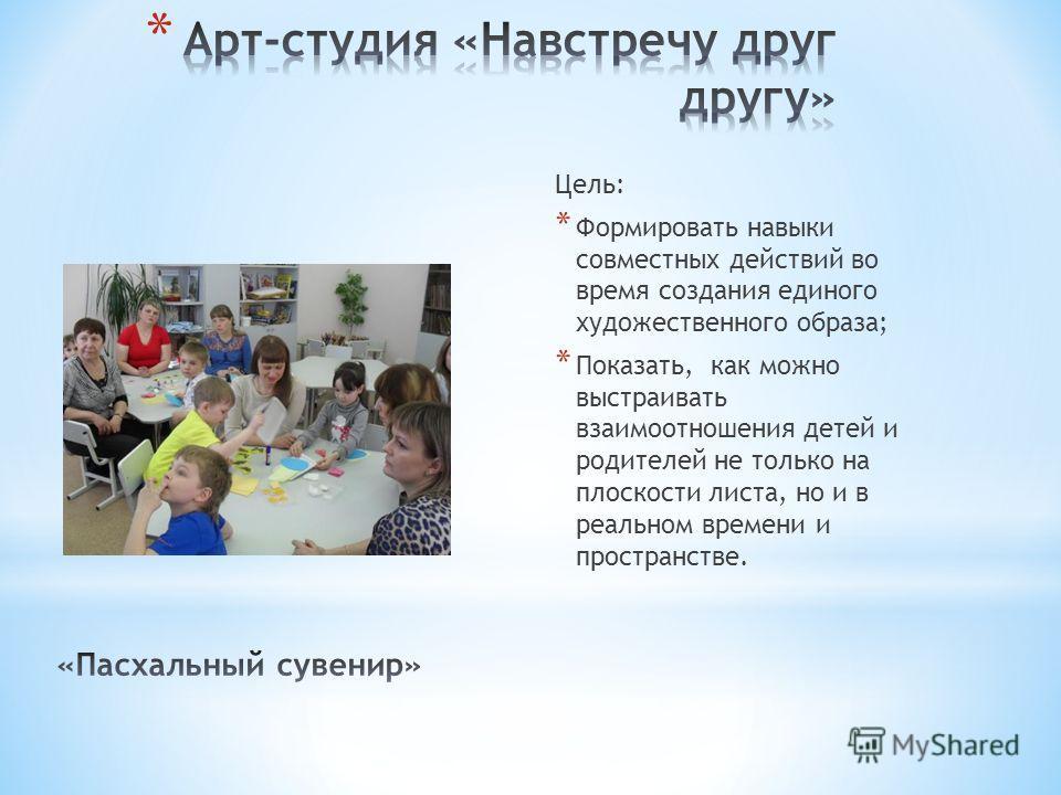 Цель: * Формировать навыки совместных действий во время создания единого художественного образа; * Показать, как можно выстраивать взаимоотношения детей и родителей не только на плоскости листа, но и в реальном времени и пространстве.