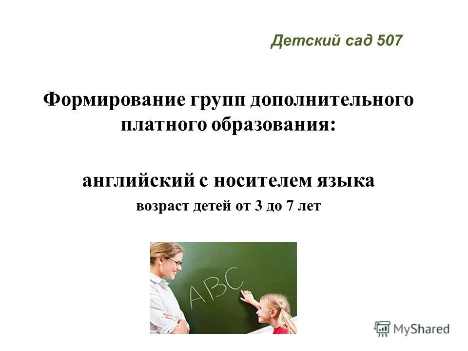 ПРЕЗЕНТАЦ ИЯ Формирование групп дополнительного платного образования: английский с носителем языка возраст детей от 3 до 7 лет Детский сад 507