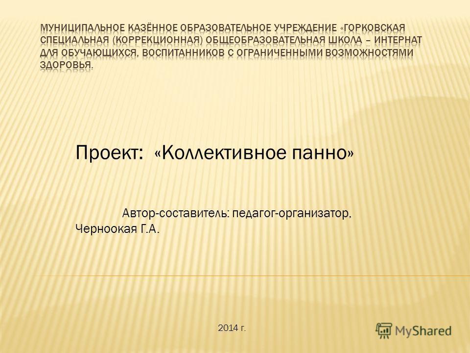 Проект: «Коллективное панно» Автор-составитель: педагог-организатор, Черноокая Г.А. 2014 г.