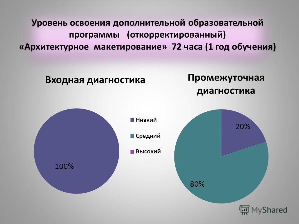 Уровень освоения дополнительной образовательной программы (откорректированный) «Архитектурное макетирование» 72 часа (1 год обучения)