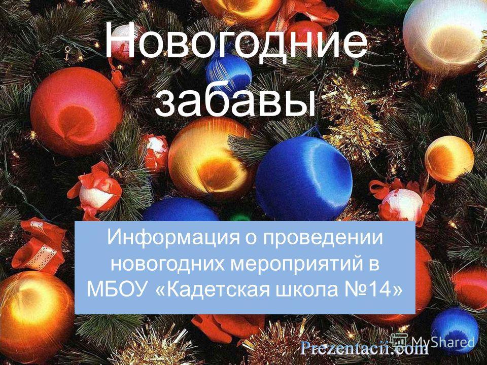 Новогодние забавы Информация о проведении новогодних мероприятий в МБОУ «Кадетская школа 14»