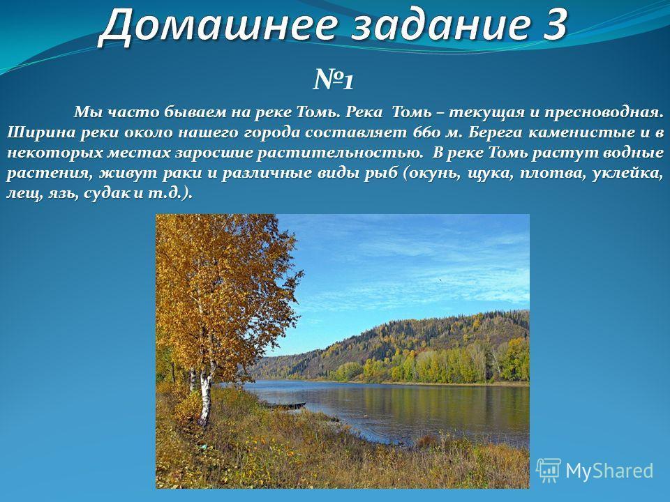 1 Мы часто бываем на реке Томь. Река Томь – текущая и пресноводная. Ширина реки около нашего города составляет 660 м. Берега каменистые и в некоторых местах заросшие растительностью. В реке Томь растут водные растения, живут раки иразличные виды рыб