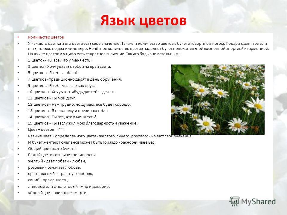 Язык цветов Количество цветов У каждого цветка и его цвета есть своё значение. Так же и количество цветов в букете говорит о многом. Подари один, три или пять, только не два или четыре. Нечётное количество цветов наделяет букет положительной жизненно