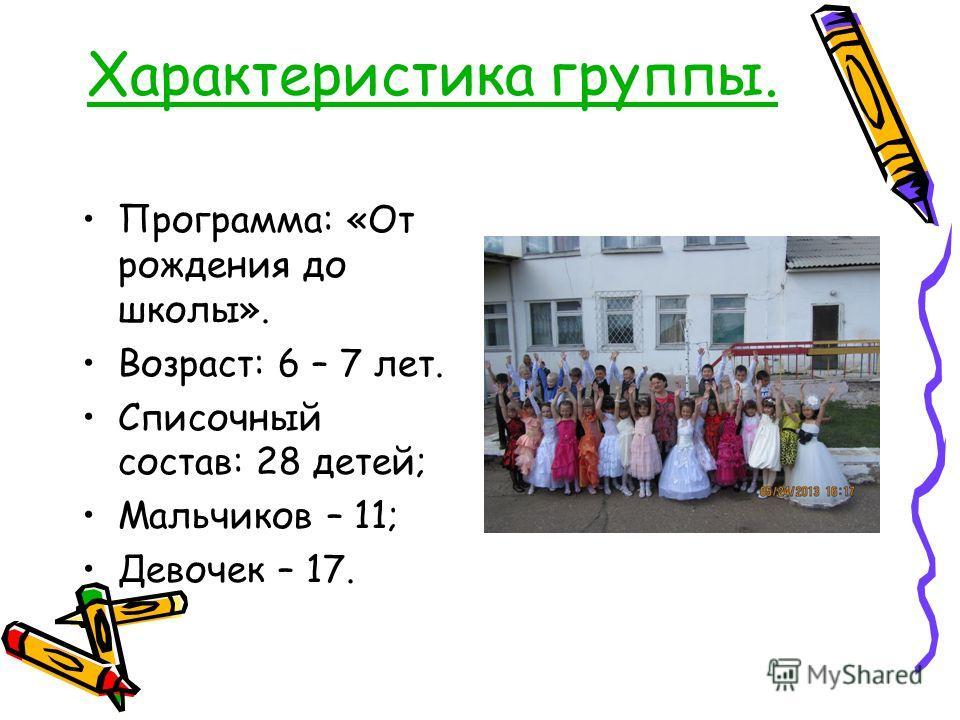 Характеристика группы. Программа: «От рождения до школы». Возраст: 6 – 7 лет. Списочный состав: 28 детей; Мальчиков – 11; Девочек – 17.