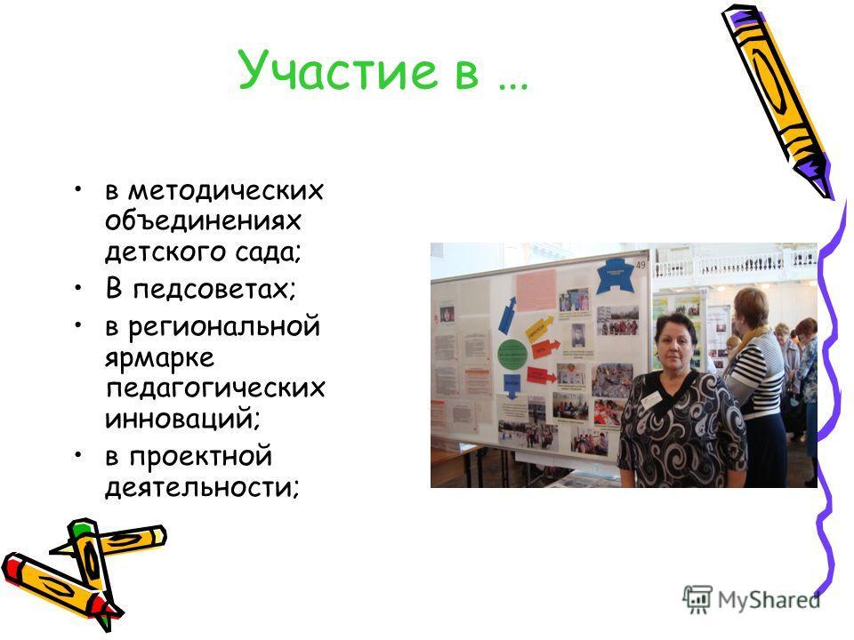Участие в … в методических объединениях детского сада; В педсоветах; в региональной ярмарке педагогических инноваций; в проектной деятельности;
