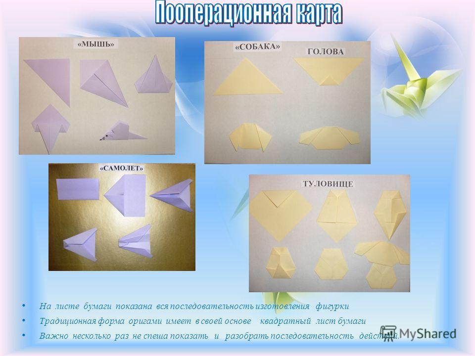 На листе бумаги показана вся последовательность изготовления фигурки Традиционная форма оригами имеет в своей основе квадратный лист бумаги Важно несколько раз не спеша показать и разобрать последовательность действий.