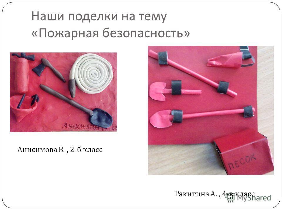 Наши поделки на тему « Пожарная безопасность » Анисимова В., 2-б класс Ракитина А., 4-в класс